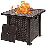 Giantex Gas Fire Pit Table, 30 Inch 50,000 BTU Auto-Ignition Propane Fire Pit Outdoor with Lid and Lava Rocks, 2-in-1 Fire Table with CSA and ETL Certification (Brown)