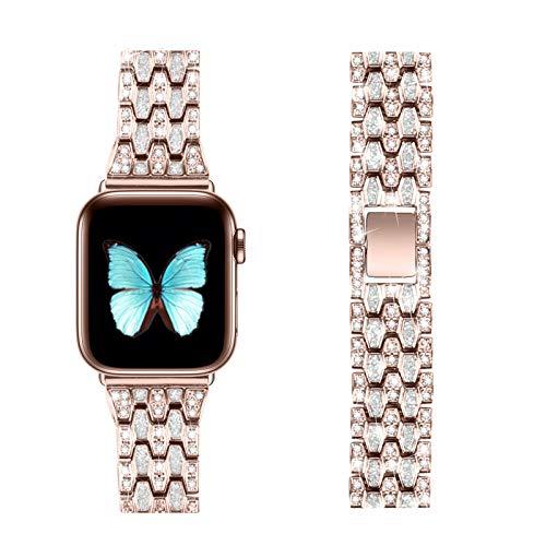 Fhony Correa eemplazo per Cinturino Apple Watch 38mm 40mm 42mm 44mm Correa de Acero Inoxidable Correa de Repuesto con Diamantes de imitación per iWatch SE Series 6 5 4 3 2 1,Pink + Pink,42/44mm
