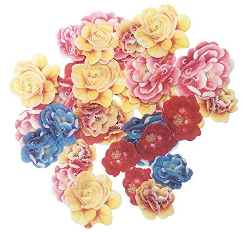 SONSMER - Juego de 30 adornos comestibles para cupcakes, diseño de peonía de boda, cumpleaños, decoración de alimentos, varios tamaños y colores