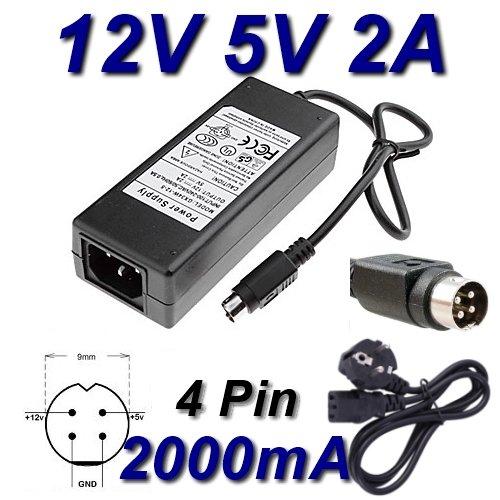 Top Cargador Adaptador alimentación Cargador 12V 5V 2A 4Pin para Disco Duro Packard Bell HD D2U2