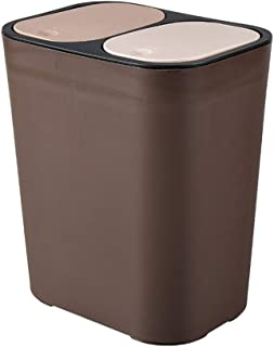 YOTHG Dual Compartment Recycling Bin - Double Waste Recycling Bin with Push-top Lids, Dry Wet Separation Waste Recycling Bin for Bathroom Hotel Garbage