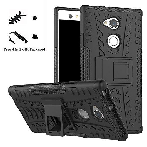 LiuShan Sony XA2 Ultra Hülle, Dual Layer Hybrid Handyhülle Drop Resistance Handys Schutz Hülle mit Ständer für Sony Xperia XA2 Ultra Smartphone (mit 4in1 Geschenk verpackt),Schwarz