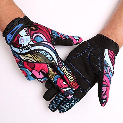 Tofern Herren/Jungendliche Handschuhe Fahrradhandschuhe vollfinger warm Winter für Fahrrad Skelett Totenkopf, Bunt M (Handflächebreite 7-8cm)