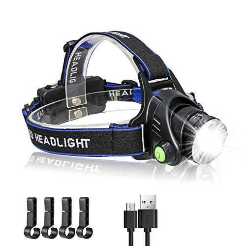 AutoEuropa Rechargeable LED Headlamp Flashlight,Super Bright Adjustable Hard Hat Adults Light,IPX5 Waterproof, 3 Lighting Modes and Zoomable Headlight for Camping,Hiking,Running,Hunting,Outdoor
