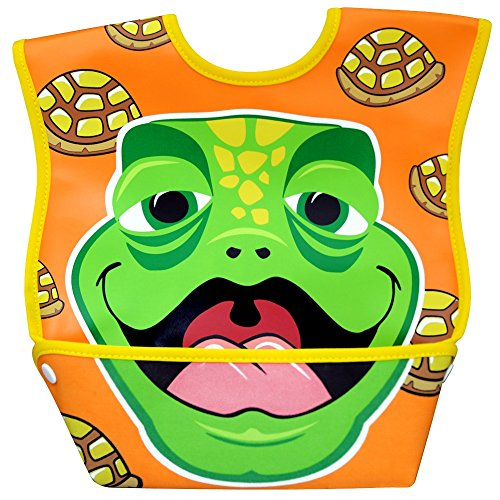 Dexbaby Big Mouth Turtle Leak-Proof Dura Bib w/ Catch-All Pocket - Large | 6 months +