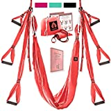 Aerial Yoga Swing Set - Yoga Hammock Swing - Trapeze Yoga Kit + Extension Straps & eBook - Wide Flying Yoga Inversion Tool - Antigravity Ceiling Hanging Yoga Sling - Women Men Kids Arial Acro (Coral)