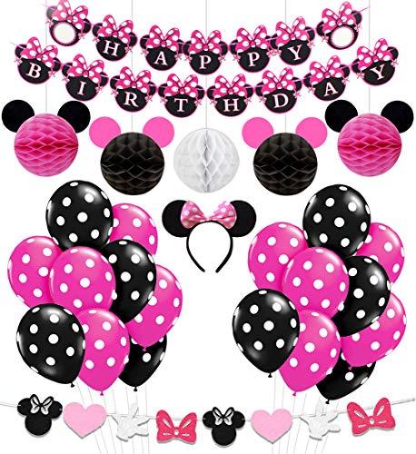 Kreatwow Minnie Themed Birthday Party Supplies Dekorationen für 1. 2. 3. Geburtstag Baby Shower