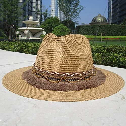 XIAMAZ Zomer Zon Hoed Dames Strand Straw Hoed Uv Bescherming Straw Hoed Met Tassel Riem Gouden Ketting