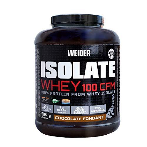 Weider Isolate Whey 100CFM 908gr Chocolate. 100% aislado de proteina de suero. Cero azúcar, cero aspartamo, con stevia, con dygezime, con BCAA, apto para veganos. Isolac. Para dietas keto.