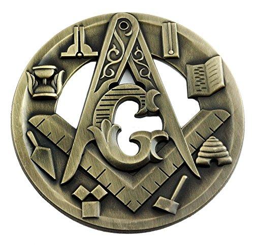 Symbolic Square & Compass Round Masonic Auto Emblem - [Antique Brass][3'' Diameter]