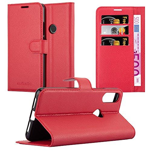 Cadorabo Hülle für WIKO View 2 PRO - Hülle in Karmin ROT – Handyhülle mit Kartenfach & Standfunktion - Hülle Cover Schutzhülle Etui Tasche Book Klapp Style
