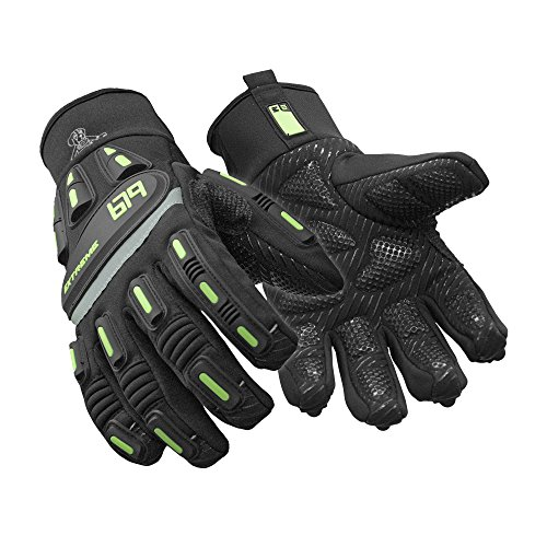 RefrigiWear Insulated Extreme Freezer Gloves with Grip Palm & Impact Protection (Black, XL)