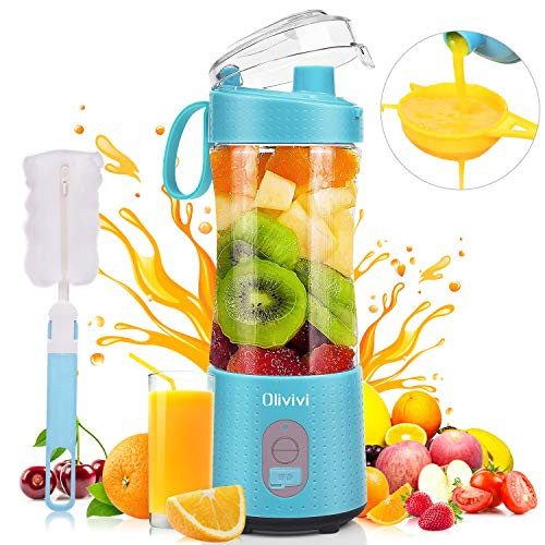 Portable Blender, Olivivi 2020 Multifunctional Personal Blender Mini Smoothie Blender 6 Powerful Blades, 4000mAh Rechargeable USB Juicer Cup Bottle with strainer Cleaning Brush for Travel BPA Free Blue