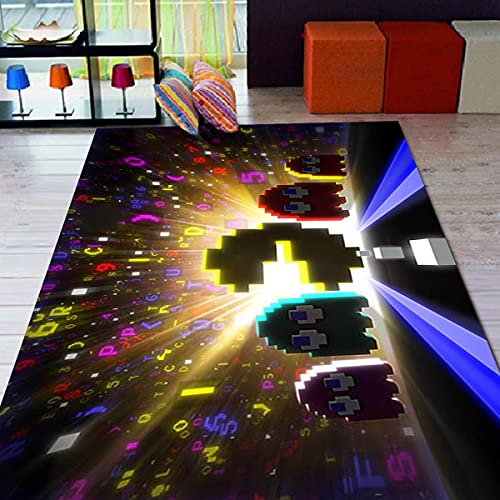 Pacman - Alfombra con motivos para sala de estar, antideslizante, alfombra para habitación de niños, regalo personalizado, alfombra temática gezcocuk-160 x 210 cm