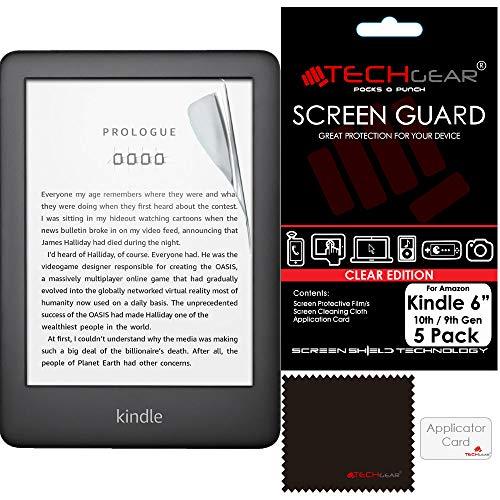 TECHGEAR [5 Stück] Displayschutz für Amazon Kindle eReader 9. Generation (2019) 6,0 Zoll - Ultra Klare Schutzfolie für Apple iPad Mini 2019 mit Reinigungstuch + Applikationskarte