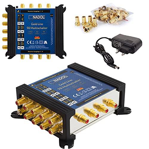 [ Test 2X SEHR GUT*] Anadol Gold Line Multischalter 9/8 für Satelit - Multiswitch für 2 Satelliten und 8 Ausgänge/Receiver - Sat-Verteiler mit Netzteil - Multischalter mit 17 vergoldeten F-Stecker