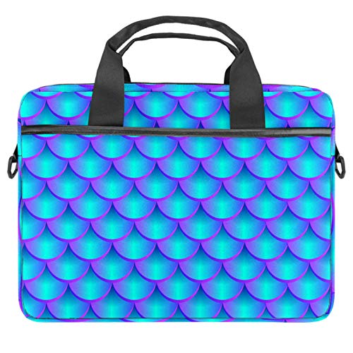 Laptop Bag Marine Mermaid Scale Pattern Notebook Sleeve with Handle 13.4-14.5 inches Carrying Shoulder Bag Briefcase