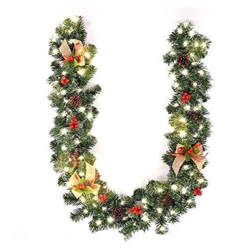 CHARAMUM Suministros de Navidad 1.8M Decoración de Navidad Bar Tops Cinta Guirnalda Adornos para árboles de Navidad Verde Árbol Caña Oropel Suministros para Fiestas