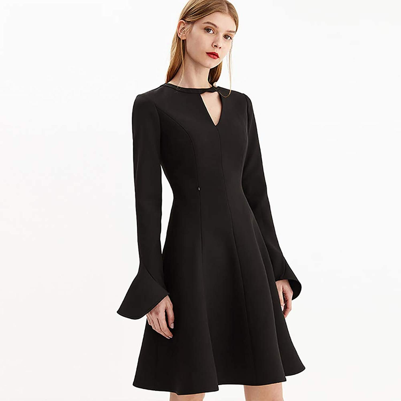 Women's Dress Black Openwork Design Trumpet Cuffs Waist Temperament Skirt