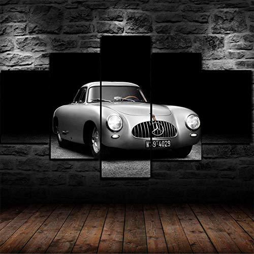 AWER Cuadro en Lienzo 5 Pieza impresión Lienzo artística Pintura Diseño Cuadro Moderno Pared gráfica 300 SL 1952 Coche clásico arte de pared para el hogar decoración Enmarcado