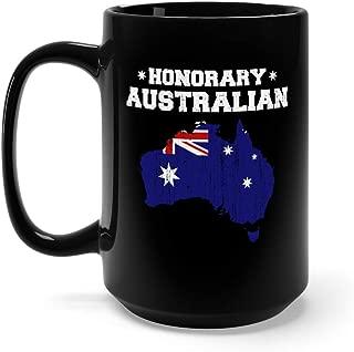 Honorary Australian Australia Day Grunge Flag Funny Tea Fun Mug Ceramic Cup 15oz Black