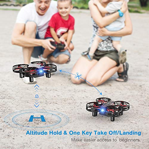 SNAPTAIN H823H Portable Mini Drone for Kids, RC Pocket Quadcopter with Altitude Hold, Headless Mode, 3D Flip, Speed Adjustment and 3 Batteries, Red