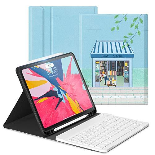 OLAIKE Custodia con Tastiera per iPad PRO 11 2018 - Tastiera Wireless Rimovibile [Supporto per Ricarica Matita Apple] - Auto Svegliati Sonno, Cover con Portamatite, Bookstore