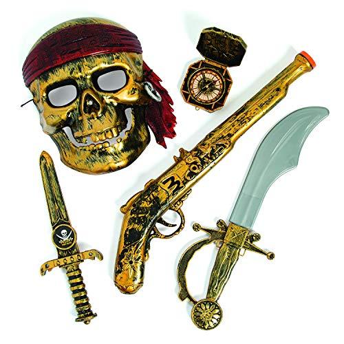 cama24com Kinder Piraten Party Set Maske Pistole Dolch Säbel und Kompass Mottoparty Karneval mit Palandi® Sticker
