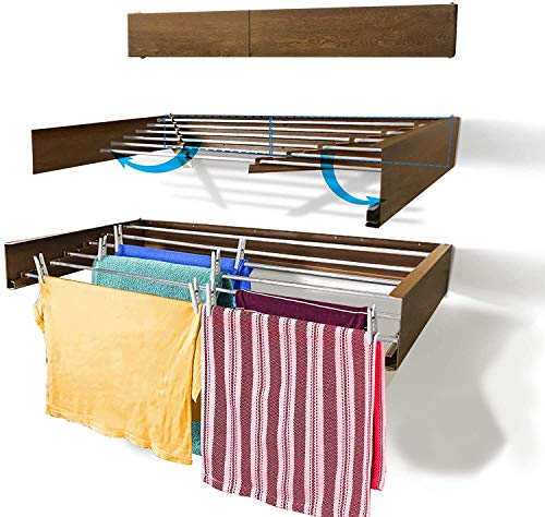 Chamas Hausleben Wandwäschetrockner Wandtrockner Wäscheständer Handtuchhalter Ausziehbar - Blechgehäuse in Holzoptik