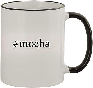 #mocha - 11oz Colored Handle and Rim Coffee Mug, Black