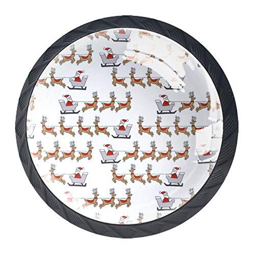 Tiradores de cajón Tirador de cristal redondo para el hogar Cocina Cómoda Armario Santas Trineo Tela Reno Santa Polo Norte Diseño navideño Blanco