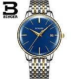 FAPROL-BINGER Orologio da Uomo Orologi Meccanici Automatici con Funzione di Visualizzazione del Calendario Orologio da Polso da Gentleman Gold+Blue