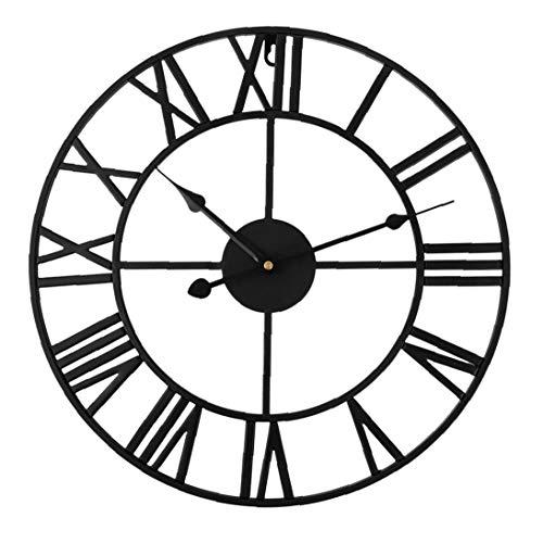 Nicetruc Número Romano Reloj de Pared de Hierro Negro 40cm Oficina Retro Grande de la Sala de Arte de la decoración