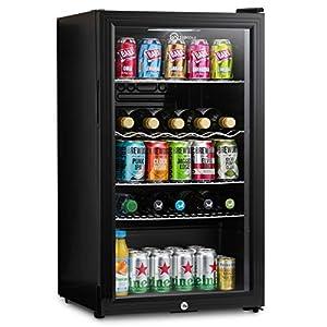 Subcold Super85 LED - Under-Counter Fridge | 85L Beer, Wine & Drinks Fridge | LED Light + Lock and Key | Low Energy A+ (Black, 85L)