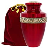 Serenity Red Beautiful Adult Cremation Urn for Human Ashes - A Beautiful Urn to Honor Your Loved One Lost - with Velvet Bag