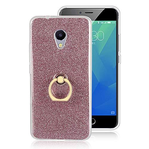 GARITANE Hülle für Meizu MX4 Pro,Bling Glitzer Handyhülle Clear Silikon Bumper Tasche Hülle Cover mit Ring Ständer Fingerhalterung (Rosa)