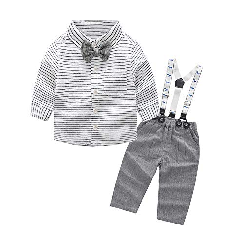 Tem Doger Baby Boys Long Sleeve Woven Striped Shirt+Bowtie+Suspender Pants Set Outfit (95/18-24 Months) Grey