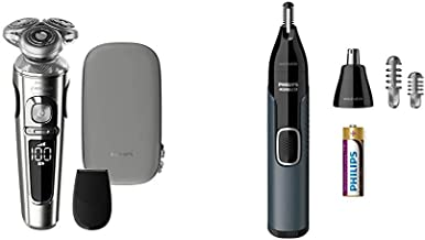 Philips Norelco SP9820/87 Shaver 9000 Prestige, Rechargeable Wet/Dry Electric Shaver with Trimmer Attachment and Premium C...