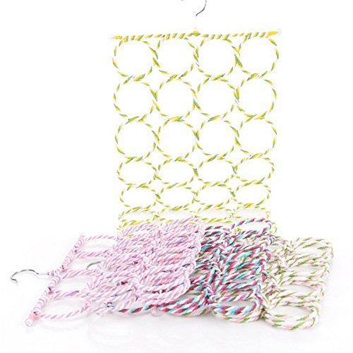 QX Couleur aléatoire/73 cmx36.5 cm/Tie Rack de Stockage/Pliable 28 Bague Tresse/écharpes Cintre/système de rotin/étagères cintres