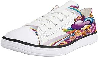 Canvas Sneaker Low Top Shoes,Cartoon,Hero Astronaut Kids with Rocket Space Ship Childhood Dream Fun Artwork Print
