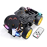 Freenove 4WD Car Kit for ESP32-WROVER (Contained) (Compatible with Arduino IDE), Dot Matrix Expressions, Camera, Obstacle Avoidance, Line Tracking, Light Tracing, Colorful Light, IR Remote, App