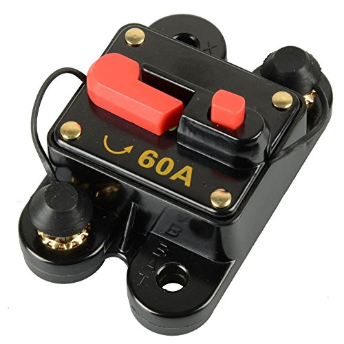 ZOOKOTO 12V-42VDC Waterproof 50A-300A Circuit Breaker with Manual Reset Inline Fuse Inverter Fuse holder for Marine Trolling Motors Boat ATV Manual Power(50A)