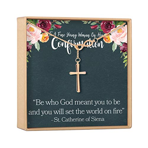 Dear Ava Confirmation Gift Necklace: Heartfelt Card & Jewelry Gift for Teenage Girls, Holy Confirmation for Girls, Christian Faith, Infinity Cross (rose-gold-plated-brass, NA)