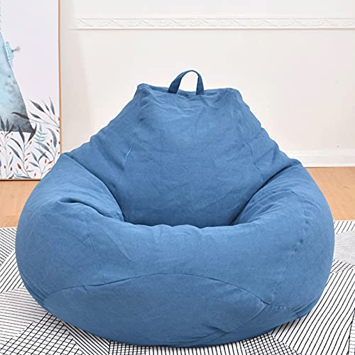 ZZNVS Bean Bag Lazy Sofa Cover, Cotton Simple Bean Bag Removable And Washable Sofa Cover, Used In Bedroom, Living Room And Other Places (no Padding) (Color : Royal blue, Size : Large)