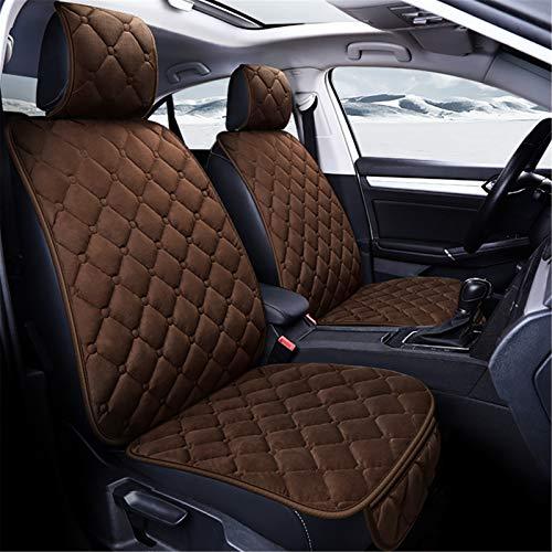 Upupto Fluff Front y Trasero Asientos Cubiertas Airbag Compatible Cubierta de Asiento de Coche Universal Coche Protectores Accesorios Interior,Marrón