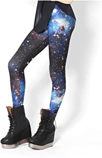 King Star (キングスター) レディース ロングパンツ 宇宙柄 伸縮性良い キラキラ オシャレ タイツ レギンス