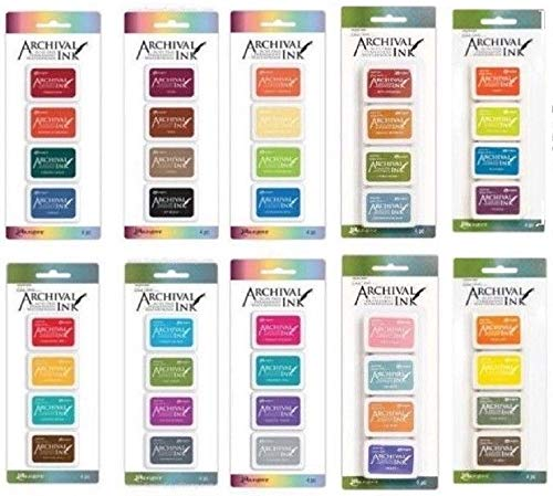 Ranger Mini Archival Ink Pads Bundle Complete Set Includes Wendy Vecchi 10 Packs Bundle - 40 Ink Pads totals with Bonus Mixing Cups