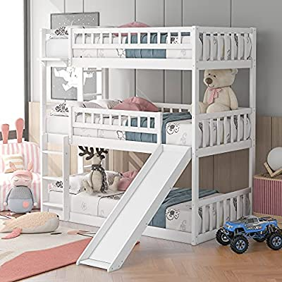 Buy Kids Triple Floor Bunk Beds With Slide 3 Bunk Beds Twin Over Twin Over Twin Size In Classic White Online In Turkey B08s6z63xy