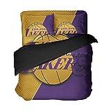Men's Los Angeles Basketball Bedding Golden Purple Duvet Cover Sheet Sets California Team Bed Queen King Twin Size 3D Printed Athlete Bedsheet Set (Purple, Queen 4pcs)