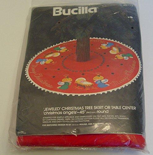 Bucilla Christmas Jeweled Felt Tree Skirt Kit Angels Baby Jesus 45' Round